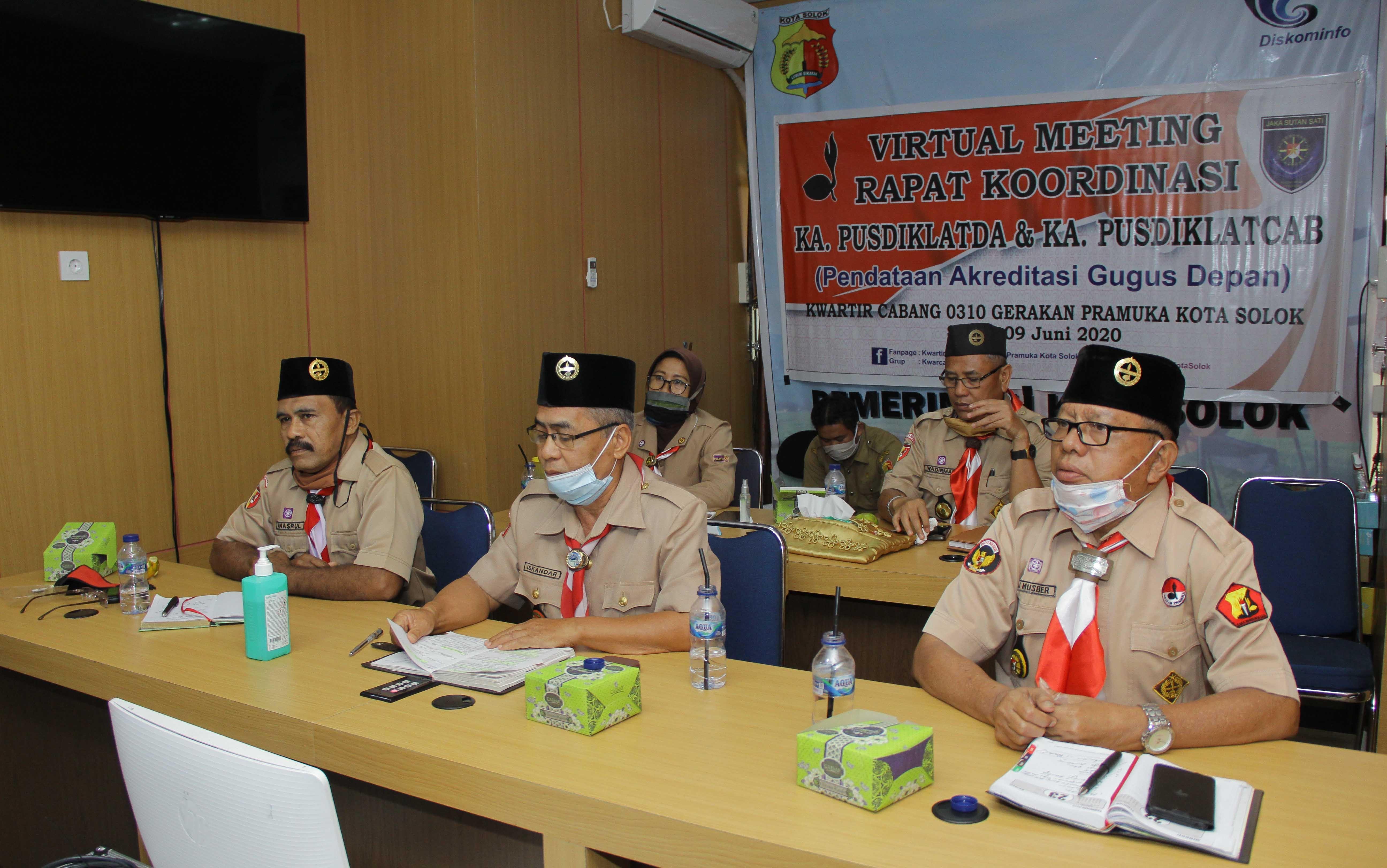Pusdiklatcab Kota Solok ikuti Video Comference dengan Korps Pelatih Se-Indonesia